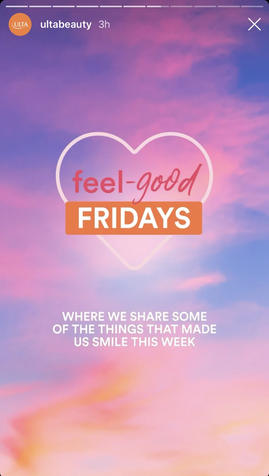 A screenshot of an Instagram Story from Ulta Beauty featuring a graphic that says 'Feel Good Fridays'