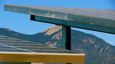 Photo: State's first community solar project, behind the Taos Charter School
