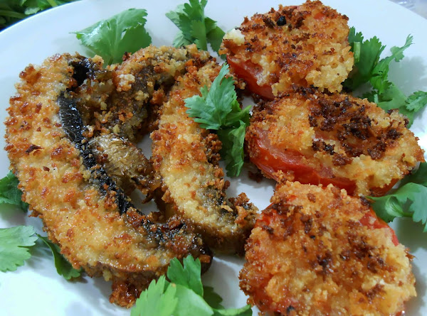 Breaded & Pan Fried Tomato & Portabello Recipe