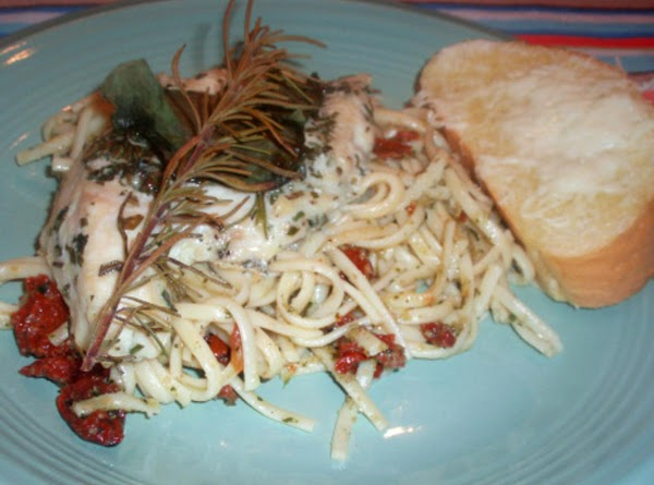 Serve whole chicken breasts on top of pesto pasta with sun dried tomatoes and...