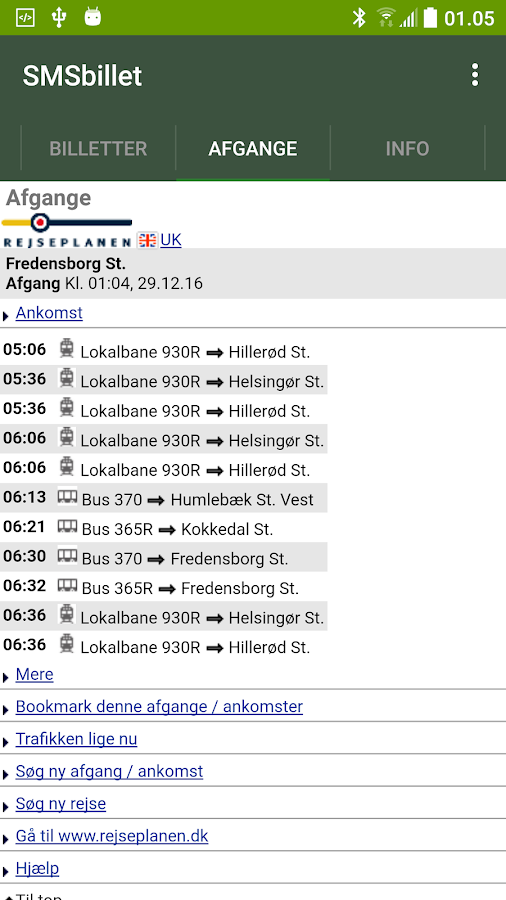 SMS-billet - bus/tog/metro- screenshot