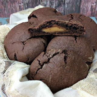 Rolo Stuffed Chocolate Cookies.