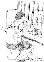 Photo: 親情2010.09.27鋼筆 窗內是年輕力盛卻失去自由的孩子,窗外是白髮蒼蒼來日無多的老母,彼此在不斷要對方保重之下涕淚縱橫,人雖近在咫尺,卻宛若相隔天涯,僅有的…是心中難捨的愛…