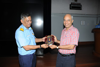 Photo: Rear Admiral. P. C. Lal. Chief Technical Officer Commanding presenting the Naval Shield to Prof. Kannan Moudgalya