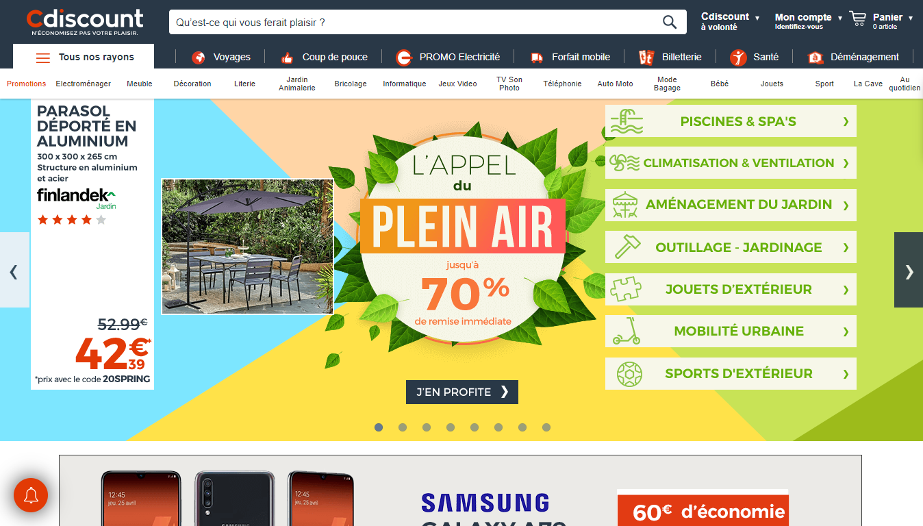 Homepage Cdiscount, one of the most famous marketplaces in France