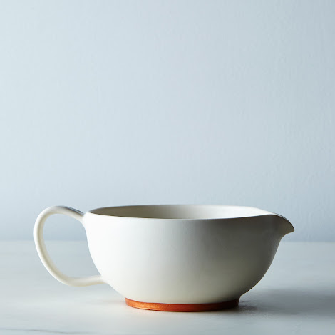 White and Copper Ceramic Gravy Bowl
