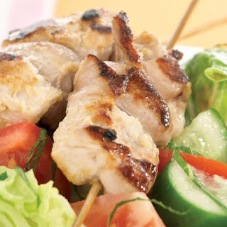 Chicken Skewers with Tomato Salad