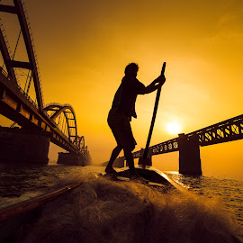 Fisherman at work !! by Prathap Gangireddy - People Street & Candids ( wide angle, silhouette, travel, india, fisherman,  )