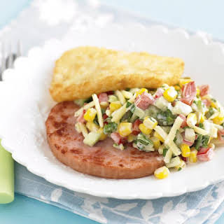 Grilled Ham with Corn and Pickle Salad.