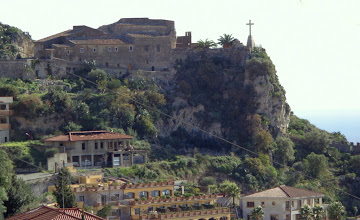 Photo: View across to the sanctuary of Madonna della Rocca from steps