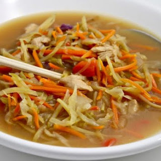 A New Cabbage Soup Diet Soup, Only 1 SmartPoints (Asian Chicken and Veggies Stir-Fry Soup).