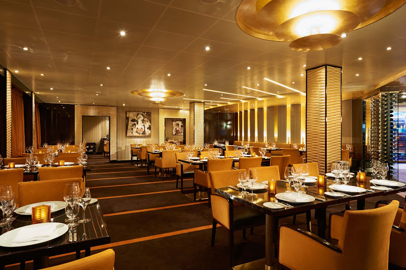 Try steak, lobster, lamb and maybe an extra dry martini at Farenheit 555 Steakhouse on Carnival Vista.