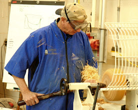 Photo: After adding a tenon on the bottom, he roughed the outside quickly, with a variety of push and pull cuts, from bottom to top.