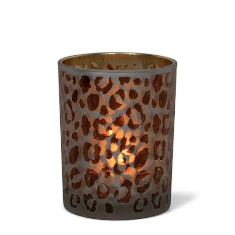Tealightholder Glass Leopard print medium