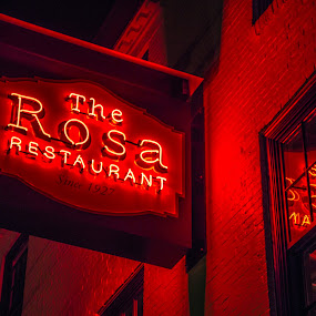 Italian Food by Michael Otero - Products & Objects Signs ( night photography, rosa, nighttime, dark, street signs, restaurant, city )