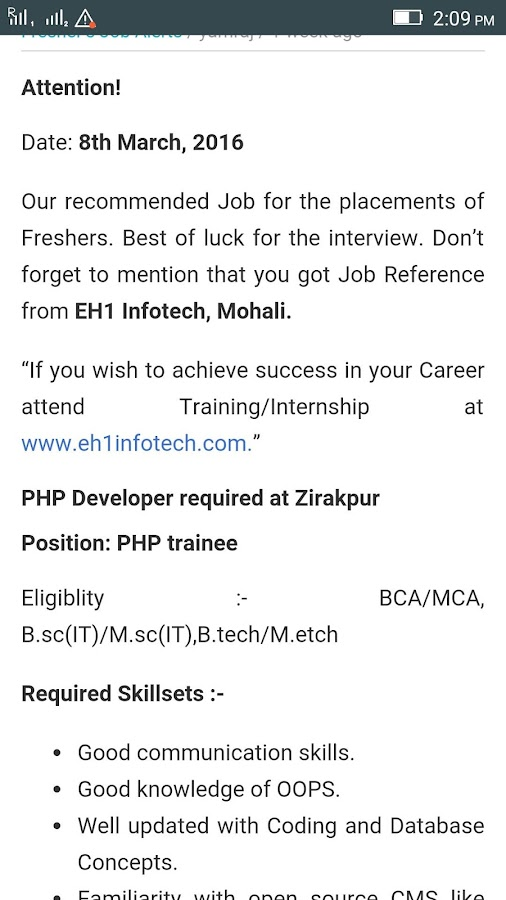 EH1 Infotech Job Alerts- screenshot