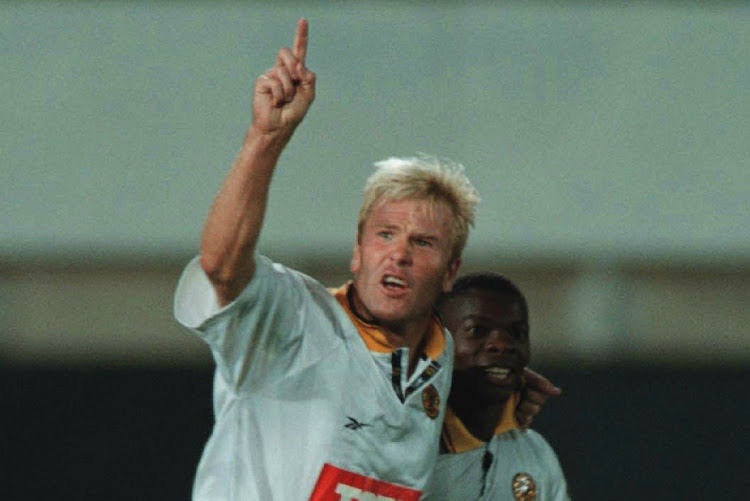 Kaizer Chiefs players Marc Batchelor with Thabang Lebese during a match in April 1998. Batchelor was shot in a suspected hit on Monday night.