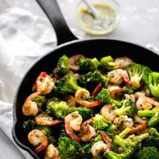 Chimichurri Shrimp Broccoli Skillet.