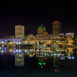 Reflecting on Rochester by John Witt - City,  Street & Park  Night ( city parks, riverside, new york, rochester, nightscape )
