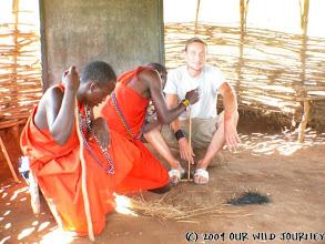Photo: Ještě se musí hodně učit, jak rozdělat oheň jako Maasajové ;o) / He must learn a lot to make fire like a Maasai ;o)
