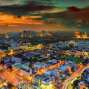 Jakarta during Golden Hour by Alexander Nainggolan - City,  Street & Park  Night ( sunset, jakarta, cityscape, landscape, golden hour )