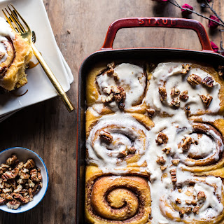 Sweet Potato Pie Cinnamon Rolls with Butter Whipped Meringue Frosting