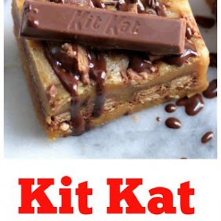 Malted Kit Kat Blondies with Malted Chocolate Drizzle