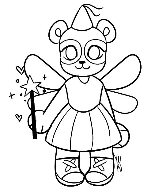 Desenho de panda vestido de fada para colorir