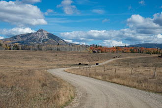 Photo: Hahn Peak and red aspens on Button Willow Drive