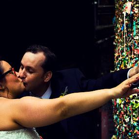 Gum Wall by Jamie Newton - Wedding Bride & Groom ( seattle, gum, wedding, pike place market, wall )