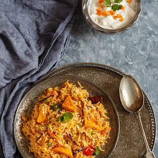 Paneer and Vegetable Makhni Dum Biryani.