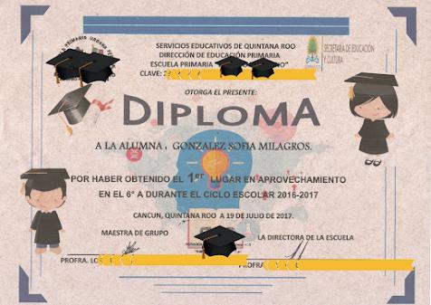 Graduación | Sofía, diploma al mejor promedio de sexto grado