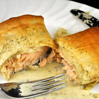Salmon Baked in Phyllo with Tarragon Dill Sauce.