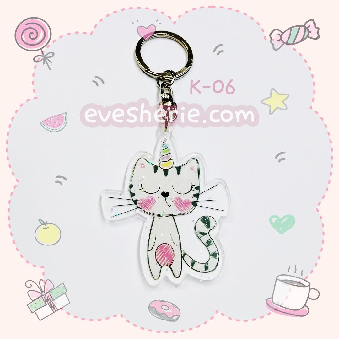พวงกุญแจน่ารัก พวงกุญแจแมวยูนิคอร์น พวงกุญแจอะคริลิคลายแมวยูนิคอร์น