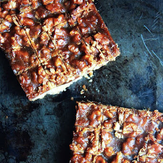 Salted Caramel Toasted Walnut Shortbread Bars