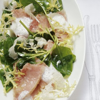 Cured Pork, Spinach and Frisee Salad and Horseradish Cream