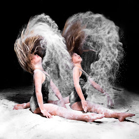 Twin flip by Patricia Konyha - People Musicians & Entertainers ( twins, dancers, flour splits, sisters )