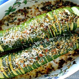Hasselback Zucchini with Parmigiano Gremolata