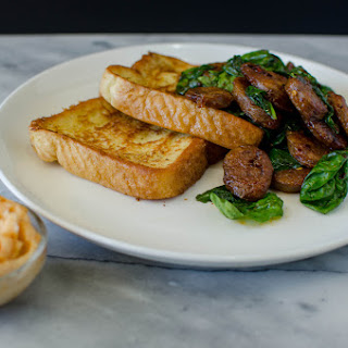 Savoury French Toast with Maple and Srirach Sausages