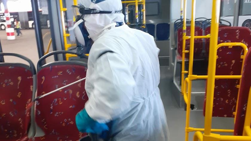 Trabajador desinfectando uno de los autobuses municipales