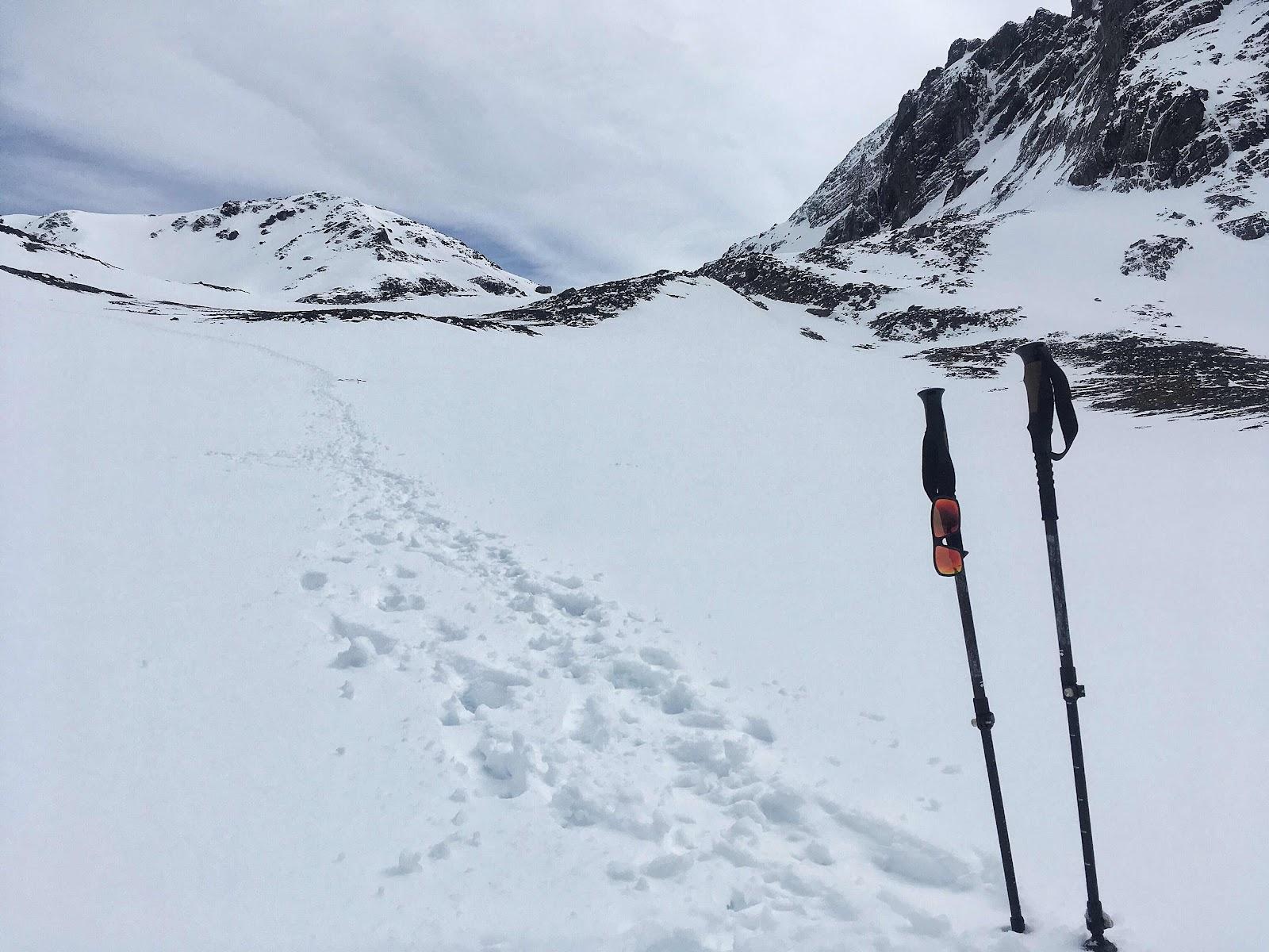Snow trail ascending Cerro del Medio. Ushuaia, Argentina