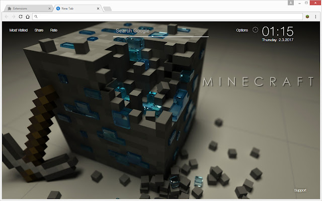 Are You Minecraft Fan Install This Theme To Get HD Wallpapers Of Every Time Open A Newtab