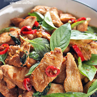 Thai Stir Fry Chicken with Basil and Chili.