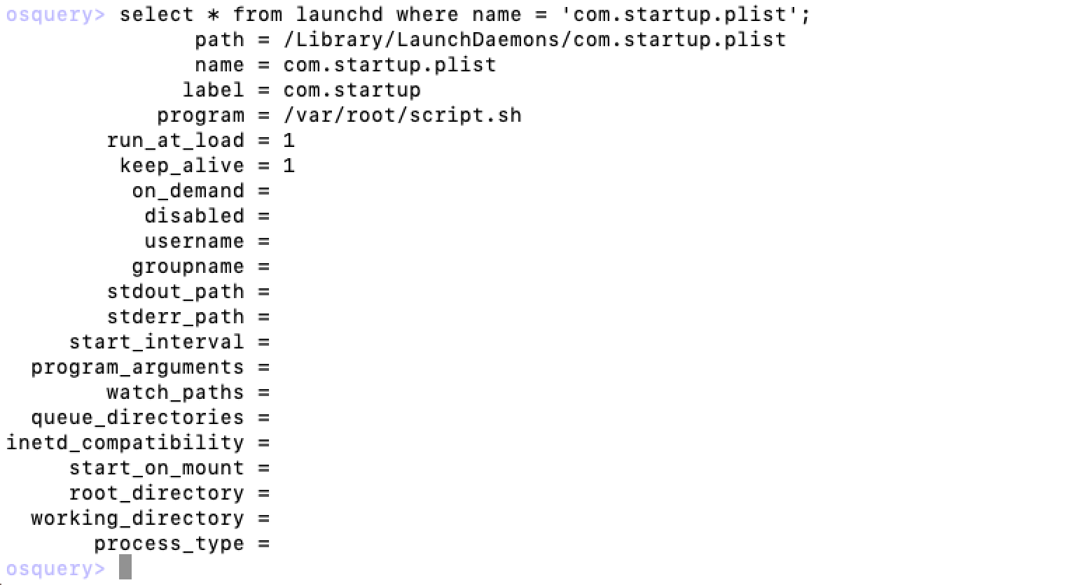 Launchd entry of OSX/Dummy malware.