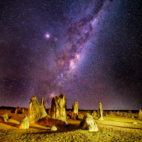 Into The Night by Greg Tennant - Landscapes Starscapes ( stars, rocks, galaxy, milky way )
