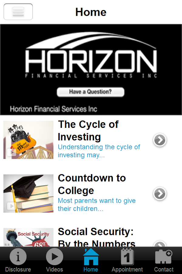 Horizon Financial Services- screenshot
