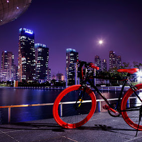 The Red Bicycle by Untung Subagyo - City,  Street & Park  City Parks