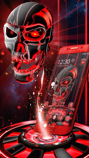 3D Tech Blood Skull Theme for PC