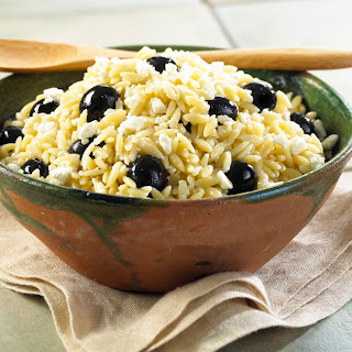 Orzo With Black Olives And Feta.