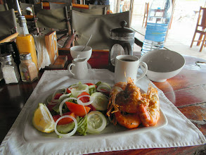 Photo: Breakfast at Casa Barry Lodge - Butter Garlic Prawns with Salad, Filter Coffee